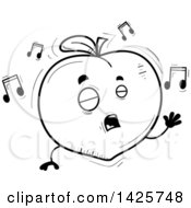 Clipart Of A Cartoon Black And White Doodled Singing Peach Character Royalty Free Vector Illustration