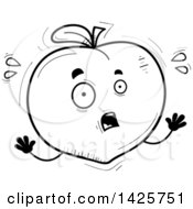 Clipart Of A Cartoon Black And White Doodled Scared Peach Character Royalty Free Vector Illustration