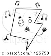 Cartoon Black And White Doodled Singing Lightning Character