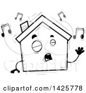 Cartoon Black And White Doodled Singing Home Character