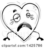 Cartoon Black And White Doodled Crying Heart Character