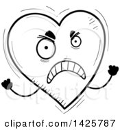 Cartoon Black And White Doodled Mad Heart Character