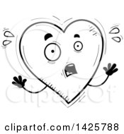 Cartoon Black And White Doodled Scared Heart Character