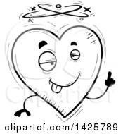 Cartoon Black And White Doodled Drunk Heart Character