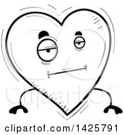 Cartoon Black And White Doodled Bored Heart Character