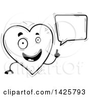 Cartoon Black And White Doodled Talking Heart Character