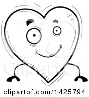 Cartoon Black And White Doodled Heart Character