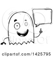 Clipart Of A Cartoon Black And White Doodled Talking Ghost Royalty Free Vector Illustration