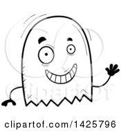 Clipart Of A Cartoon Black And White Doodled Waving Ghost Royalty Free Vector Illustration