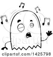 Clipart Of A Cartoon Black And White Doodled Singing Ghost Royalty Free Vector Illustration