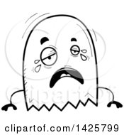 Clipart Of A Cartoon Black And White Doodled Crying Ghost Royalty Free Vector Illustration