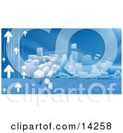Blue Internet Web Background Of Arrows Heading Towards A City Skyline Reflecting In Water Clipart Illustration