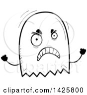 Clipart Of A Cartoon Black And White Doodled Mad Ghost Royalty Free Vector Illustration