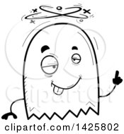 Clipart Of A Cartoon Black And White Doodled Drunk Ghost Royalty Free Vector Illustration