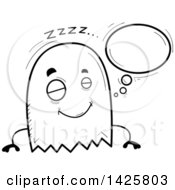 Clipart Of A Cartoon Black And White Doodled Dreaming Ghost Royalty Free Vector Illustration