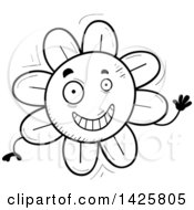 Clipart Of A Cartoon Black And White Doodled Waving Flower Character Royalty Free Vector Illustration
