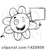 Clipart Of A Cartoon Black And White Doodled Talking Flower Character Royalty Free Vector Illustration