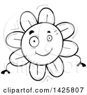 Clipart Of A Cartoon Black And White Doodled Flower Character Royalty Free Vector Illustration