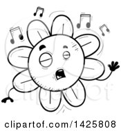 Cartoon Black And White Doodled Singing Flower Character