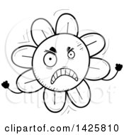Clipart Of A Cartoon Black And White Doodled Mad Flower Character Royalty Free Vector Illustration