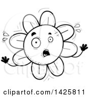 Clipart Of A Cartoon Black And White Doodled Scared Flower Character Royalty Free Vector Illustration