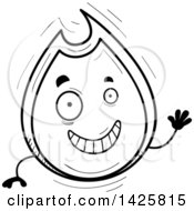 Poster, Art Print Of Cartoon Black And White Doodled Waving Flame Character