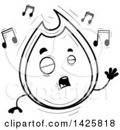 Cartoon Black And White Doodled Singing Flame Character