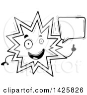 Clipart Of A Cartoon Black And White Doodled Talking Explosion Character Royalty Free Vector Illustration by Cory Thoman
