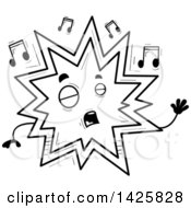 Clipart Of A Cartoon Black And White Doodled Singing Explosion Character Royalty Free Vector Illustration by Cory Thoman