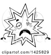 Clipart Of A Cartoon Black And White Doodled Crying Explosion Character Royalty Free Vector Illustration by Cory Thoman