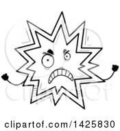 Clipart Of A Cartoon Black And White Doodled Mad Explosion Character Royalty Free Vector Illustration by Cory Thoman