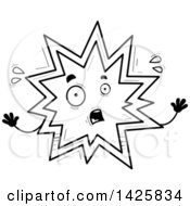 Clipart Of A Cartoon Black And White Doodled Scared Explosion Character Royalty Free Vector Illustration by Cory Thoman
