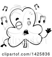 Clipart Of A Cartoon Black And White Doodled Singing Shamrock Clover Character Royalty Free Vector Illustration