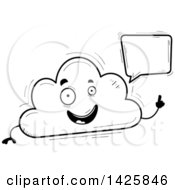 Cartoon Black And White Doodled Talking Cloud Character