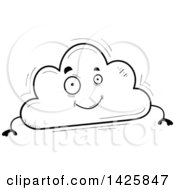 Cartoon Black And White Doodled Cloud Character
