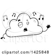 Cartoon Black And White Doodled Singing Cloud Character