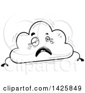 Cartoon Black And White Doodled Crying Cloud Character
