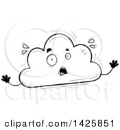 Cartoon Black And White Doodled Scared Cloud Character