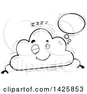 Cartoon Black And White Doodled Dreaming Cloud Character