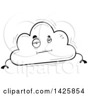 Cartoon Black And White Doodled Bored Cloud Character