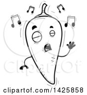 Cartoon Black And White Doodled Singing Hot Chile Pepper Character