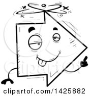Clipart Of A Cartoon Black And White Doodled Drunk Arrow Character Royalty Free Vector Illustration by Cory Thoman
