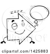 Clipart Of A Cartoon Black And White Doodled Dreaming Arrow Character Royalty Free Vector Illustration by Cory Thoman