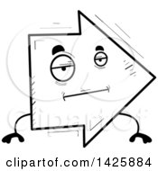 Clipart Of A Cartoon Black And White Doodled Bored Arrow Character Royalty Free Vector Illustration by Cory Thoman