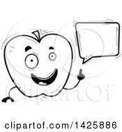 Cartoon Black And White Doodled Talking Apple Character