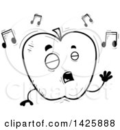 Cartoon Black And White Doodled Singing Apple Character