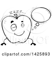 Cartoon Black And White Doodled Dreaming Apple Character