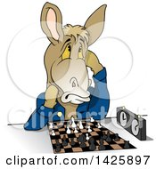 Clipart Of A Cartoon Donkey Playing A Game Of Chess Royalty Free Vector Illustration
