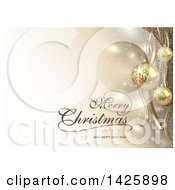 Merry Christmas And Happy New Year Greeting With Streamers Sparkles And Gold 3d Baubles