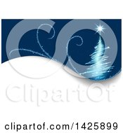 Blue Background With A Magical Christmas Tree And Swirls Over Text Space